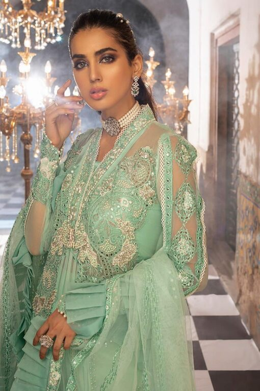 Mushq Embroidered Chiffon Unstitched 3 Piece Suit MQFC20 8 MINT MELODY – Luxury Collection