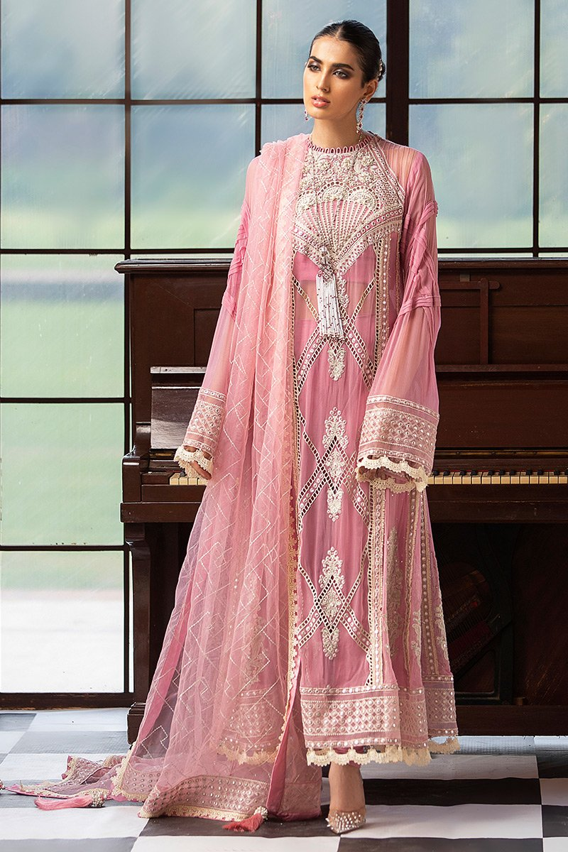 Mushq Embroidered Chiffon Unstitched 3 Piece Suit MQFC20 3 ROSEATE - Luxury Collection