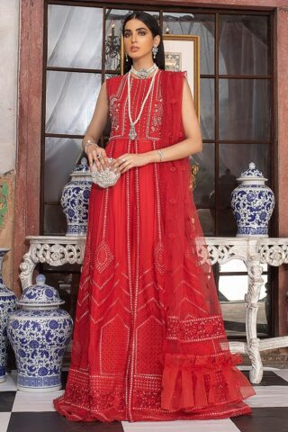 Mushq Embroidered Chiffon Unstitched 3 Piece Suit MQFC20 10 SCARLET SYMPHONY - Luxury Collection