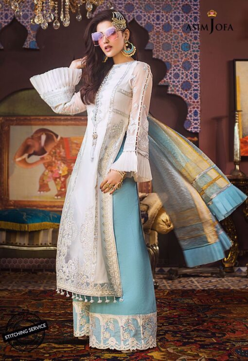Asim Jofa Embroidered Organza Unstitched 3 Piece Suit AJFC20 04 - Luxury Collection