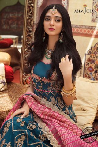 Asim Jofa Embroidered Net Unstitched 3 Piece Suit AJFC20 05 – Luxury Collection
