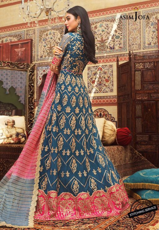 Asim Jofa Embroidered Net Unstitched 3 Piece Suit AJFC20 05 - Luxury Collection