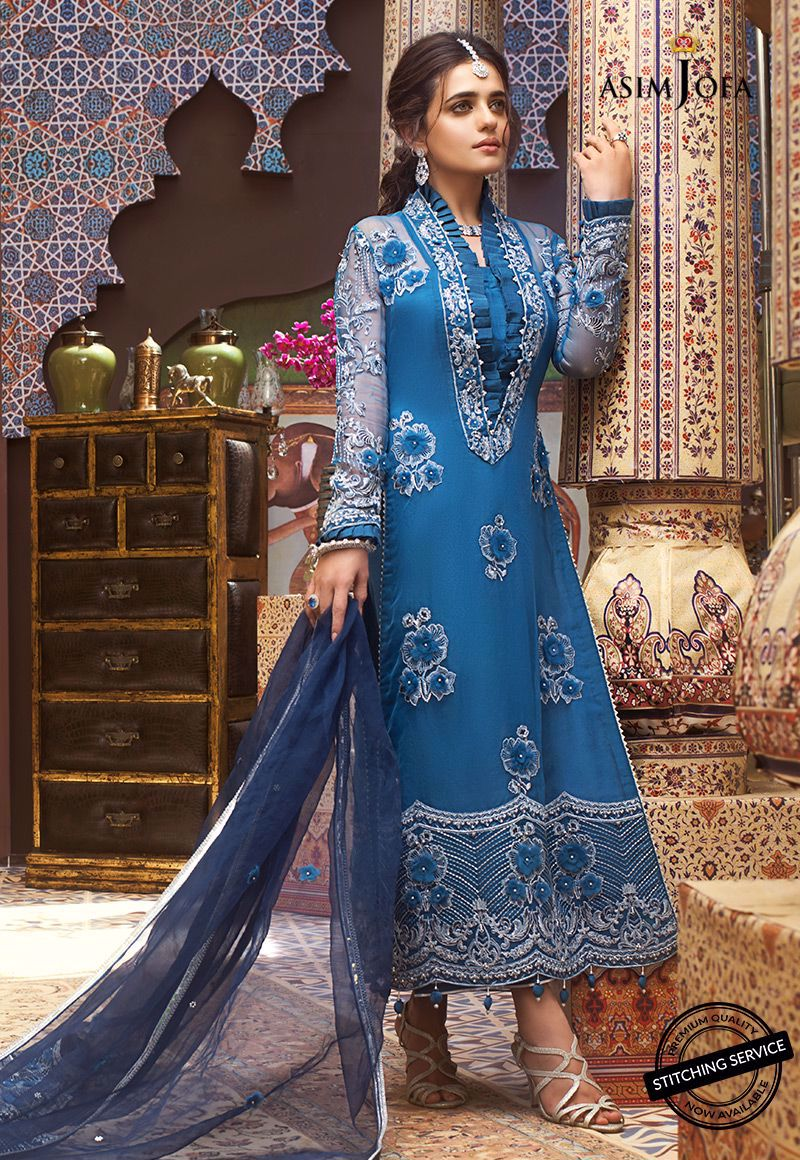 Asim Jofa Embroidered Organza Unstitched 3 Piece Suit AJFC20 10 - Luxury Collection