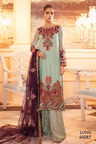 Falaknuma by Iznik Embroidered Chiffon Unstitched 3 Piece Suit IZFC20 07 MARRAH - Wedding Collection