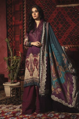 Mprints by Maria B Unstitched 3 Piece Linen Suit MBMP20 13B - Winter Collection