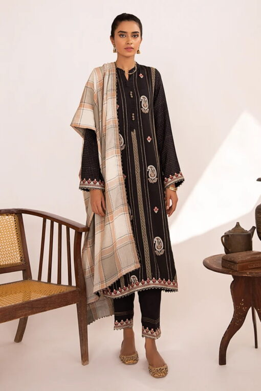 Qline by Qalamkar Embroidered Linen Unstitched 3 Piece Suit QQLNW20 08 - Winter Collection