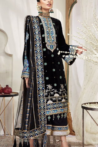 Nargis by Anaya Embroidered Velvet Unstitched 3 Piece Suit AKCNC20 07 Layla - Wedding Collection