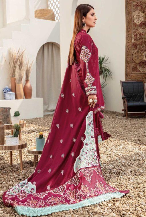 Noor by Sadia Asad Jacquard Unstitched 3 Piece Suit NSASC20 D5 Plum – Winter Collection