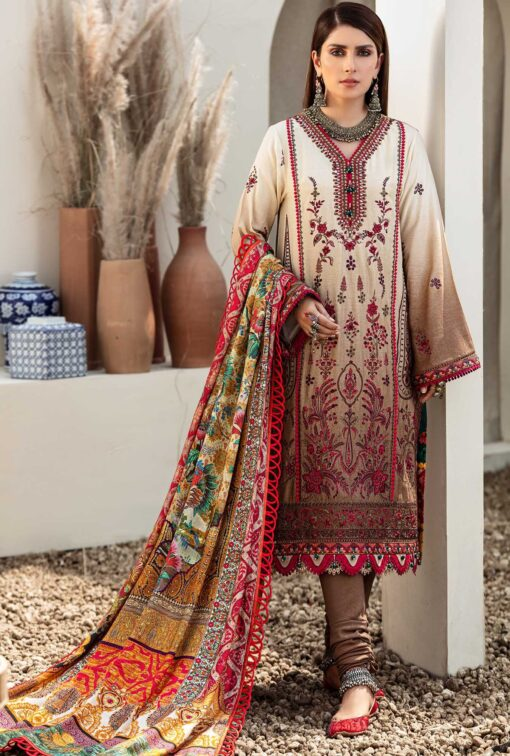 Noor by Sadia Asad Khaddar Unstitched 3 Piece Suit NSASC20 D10 Walnut – Winter Collection