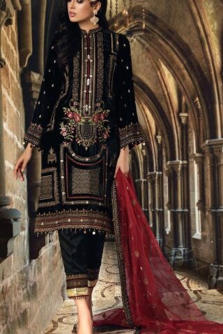 Anaya Velour De Luxe Embroidered Velvet Unstitched 3 Piece Suit 2020 01 - Winter Collection