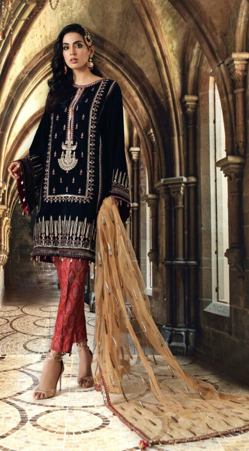 Anaya Velour De Luxe Embroidered Velvet Unstitched 3 Piece Suit 2020 02 – Winter Collection