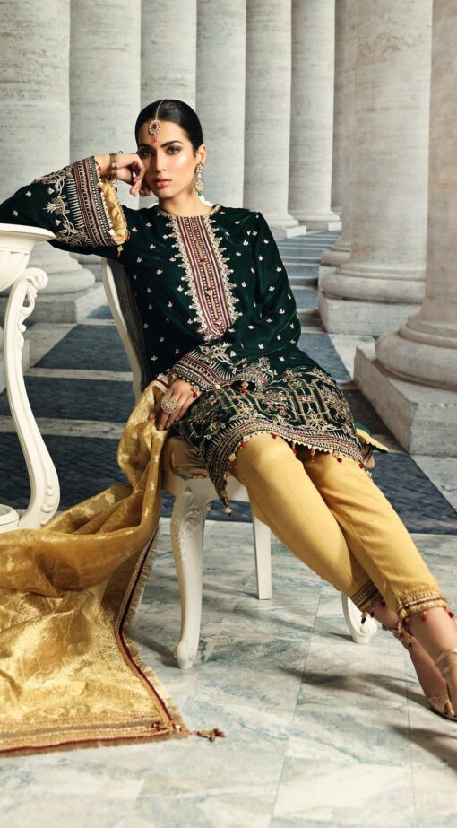 Anaya Velour De Luxe Embroidered Velvet Unstitched 3 Piece Suit 2020 06 – Winter Collection