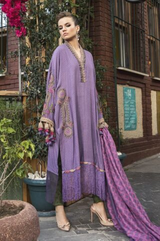 Maria B Embroidered Linen Unstitched 3 Piece Suit 2020 803 Lilac - Winter Collection
