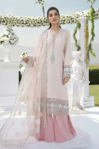 Maria B Sateen Cotton Satin Unstitched 3 Piece Suit MBST20 302 Pink – Fall Collection