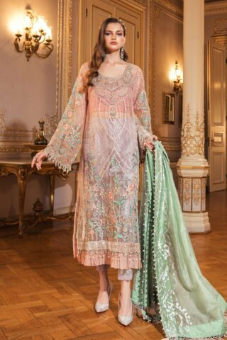Maria B Embroidered Organza Unstitched 3 Piece Suit 2020 BD 2003 Fresh Peach – Wedding Collection