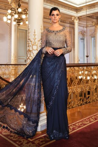 Maria B Embroidered Chiffon Unstitched 3 Piece Saree 2020 BD 2004 Ink Blue and Coffee - Wedding Collection