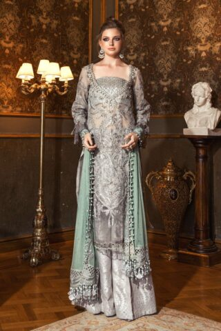 Maria B Embroidered Zari Net Unstitched 3 Piece Suit 2020 BD 2005 Silver Grey - Wedding Collection