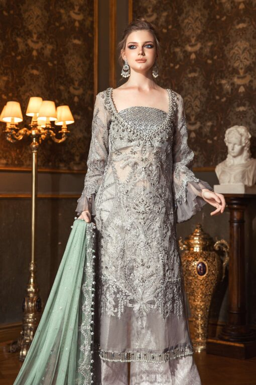 Maria B Embroidered Zari Net Unstitched 3 Piece Suit 2020 BD 2005 Silver Grey – Wedding Collection