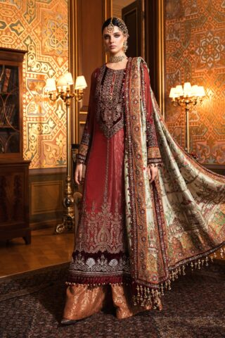 Maria B Embroidered Cotton Net Unstitched 3 Piece Suit 2020 BD 2006 Maroon - Wedding Collection