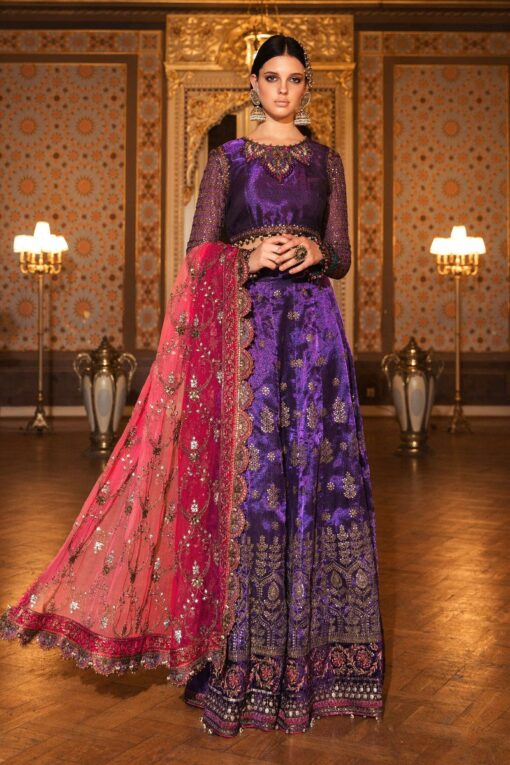 Maria B Embroidered Zari Net Unstitched 3 Piece Suit 2020 BD 2007 Purple – Wedding Collection