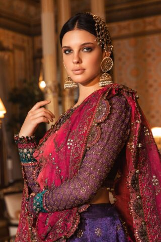 Maria B Embroidered Zari Net Unstitched 3 Piece Suit 2020 BD 2007 Purple - Wedding Collection