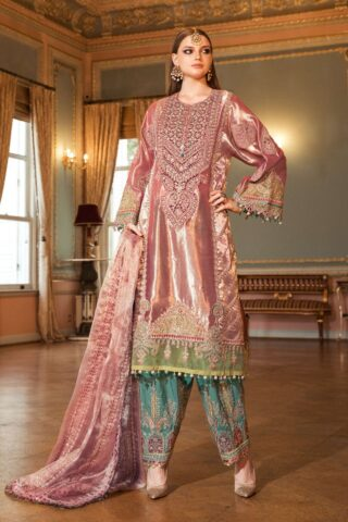 Maria B Embroidered Tissue Unstitched 3 Piece Suit 2020 BD 2008 Salmon Pink - Wedding Collection