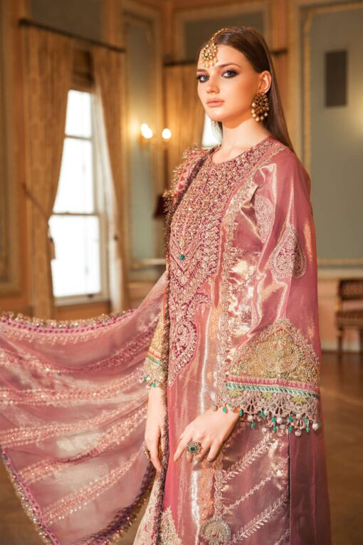 Maria B Embroidered Tissue Unstitched 3 Piece Suit 2020 BD 2008 Salmon Pink – Wedding Collection