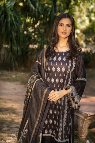 Sobia Nazir Embroidered Cottel Linen Unstitched 3 Piece Suit 2020 02A - Winter Collection