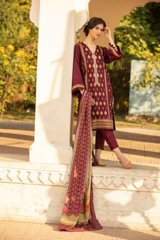 Sobia Nazir Embroidered Cottel Linen Unstitched 3 Piece Suit 2020 02B - Winter Collection