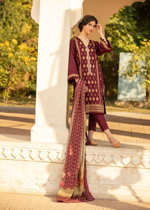 Sobia Nazir Embroidered Cottel Linen Unstitched 3 Piece Suit 2020 02B – Winter Collection