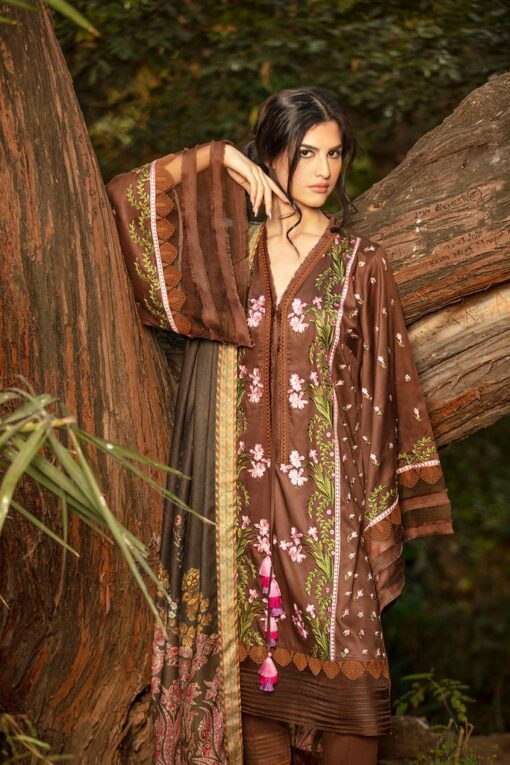 Sobia Nazir Embroidered Cottel Linen Unstitched 3 Piece Suit 2020 04A – Winter Collection
