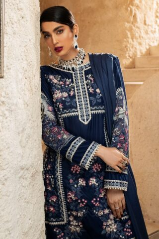 Mushq Winter Sky Embroidered Velvet Unstitched 3 Piece Suit 2020 06 Blue Heaven - Winter Collection