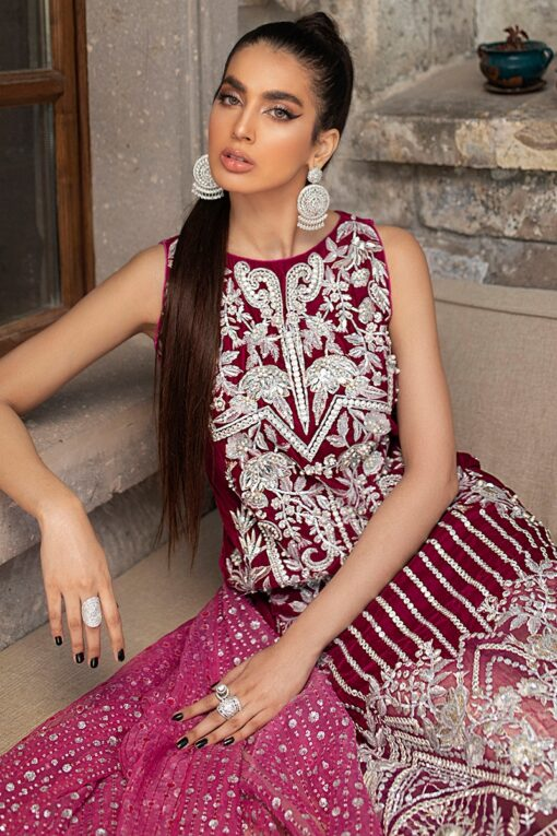 Mushq Winter Sky Embroidered Velvet Unstitched 3 Piece Suit 2020 05 Fushcia Rose – Winter Collection