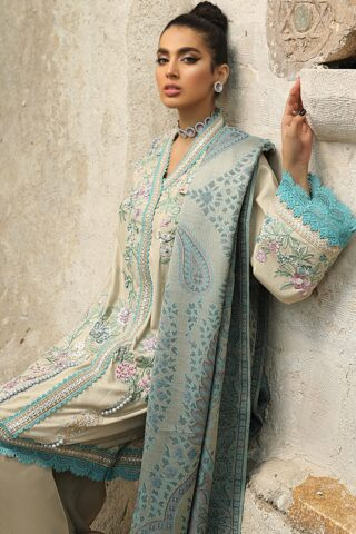 Mushq Winter Sky Embroidered Raw Silk Unstitched 3 Piece Suit 2020 08 Lagoon – Winter Collection