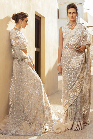 Trousseau de Luxe by Mushq Embroidered Net Unstitched 3 Piece Suit 2020 07 Magical Dawn - Wedding Collection