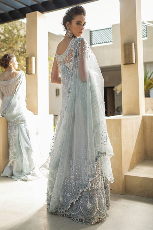 Trousseau de Luxe by Mushq Embroidered Net Unstitched 3 Piece Suit 2020 01 Morning Mist – Wedding Collection