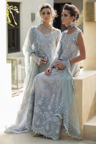 Trousseau de Luxe by Mushq Embroidered Net Unstitched 3 Piece Suit 2020 01 Morning Mist - Wedding Collection