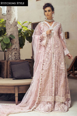 Trousseau de Luxe by Mushq Embroidered Net Unstitched 3 Piece Suit 2020 03 Veiled Rose - Wedding Collection