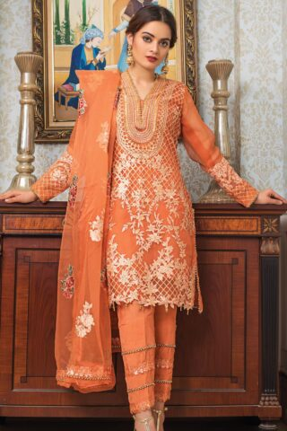Al Zohaib Embroidered Organza Unstitched 3 Piece Suit 2021 D 10 - Wedding Collection