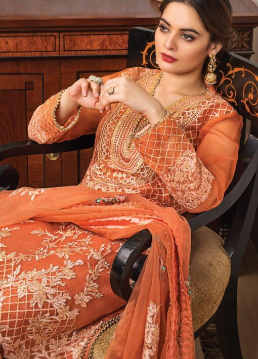 Al Zohaib Embroidered Organza Unstitched 3 Piece Suit 2021 D 10 – Wedding Collection