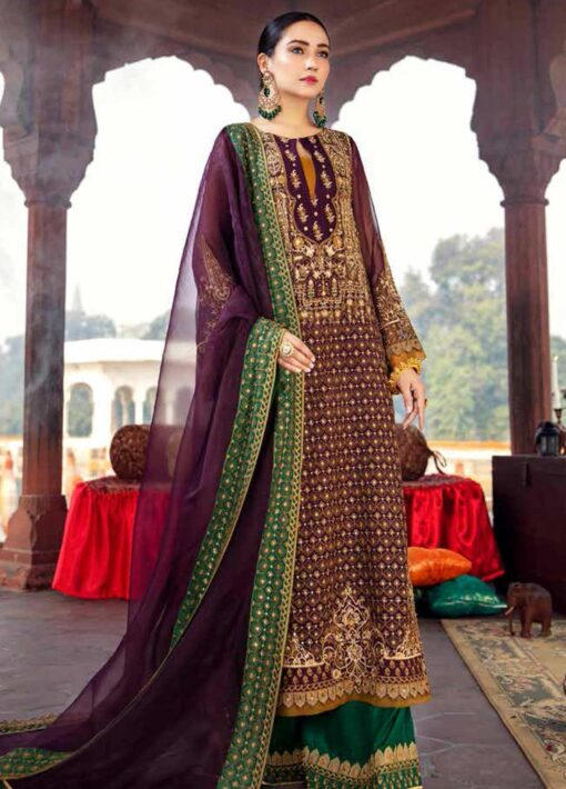 Dastan-e-Jashan By Charizma Embroidered Chiffon Unstitched 3 Piece Suit D 03 Gulbahar Bano – Luxury Collection