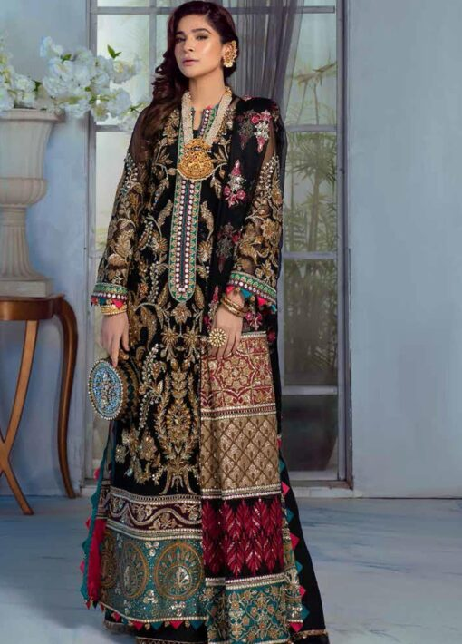 Maryam Hussain Embroidered Net Unstitched 3 Piece Suit D 08 MEENA – Wedding Collection