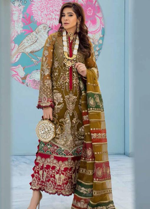 Maryam Hussain Embroidered Organza Unstitched 3 Piece Suit D 03 HINA – Wedding Collection