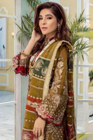 Maryam Hussain Embroidered Organza Unstitched 3 Piece Suit D 03 HINA - Wedding Collection