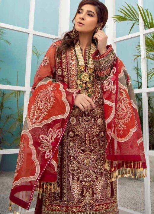Maryam Hussain Embroidered Organza Unstitched 3 Piece Suit D 06 GOTTA KINARI – Wedding Collection