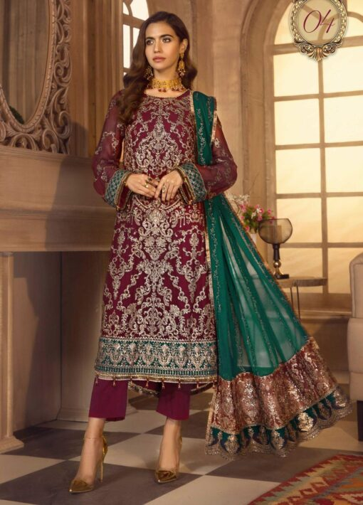 Noor-e-Rang By Zarif Embroidered Chiffon Unstitched 3 Piece Suit 04 Mahtaab – Luxury Collection