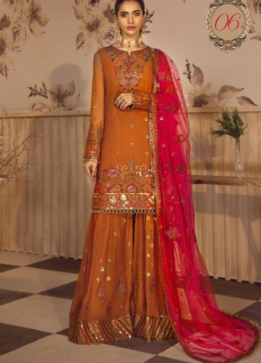 Noor-e-Rang By Zarif Embroidered Chiffon Unstitched 3 Piece Suit 06 Bahaar – Luxury Collection