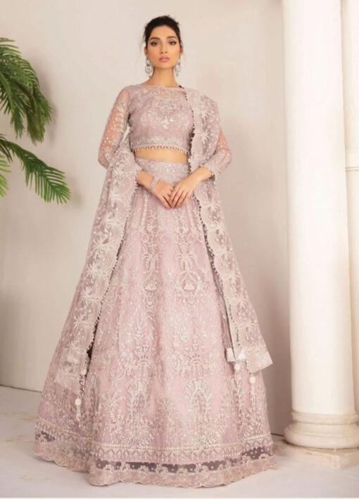 Chantelle By Baroque Embroidered Net Unstitched 3 Piece Suit 01 Pink Salt – Wedding Collection