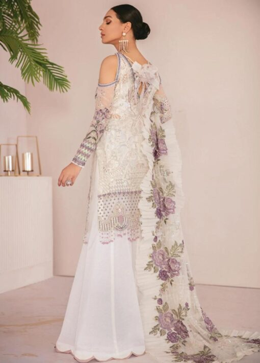 Chantelle By Baroque Embroidered Chiffon Unstitched 3 Piece Suit 03 Flo White – Wedding Collection