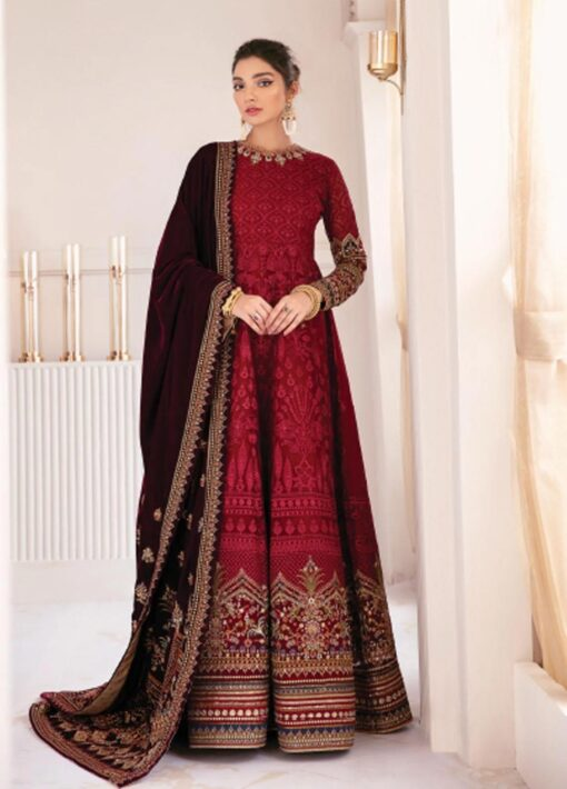 Chantelle By Baroque Embroidered Chiffon Unstitched 3 Piece Suit 04 Soft Heart – Wedding Collection